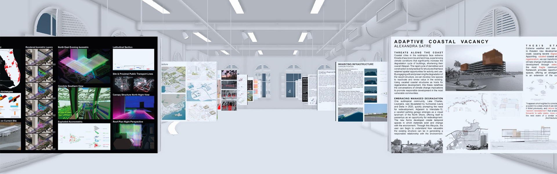 interior perspective rendering of large lecture hall with hanging boards on the left and right sides with student work on display in both text and images on the boards