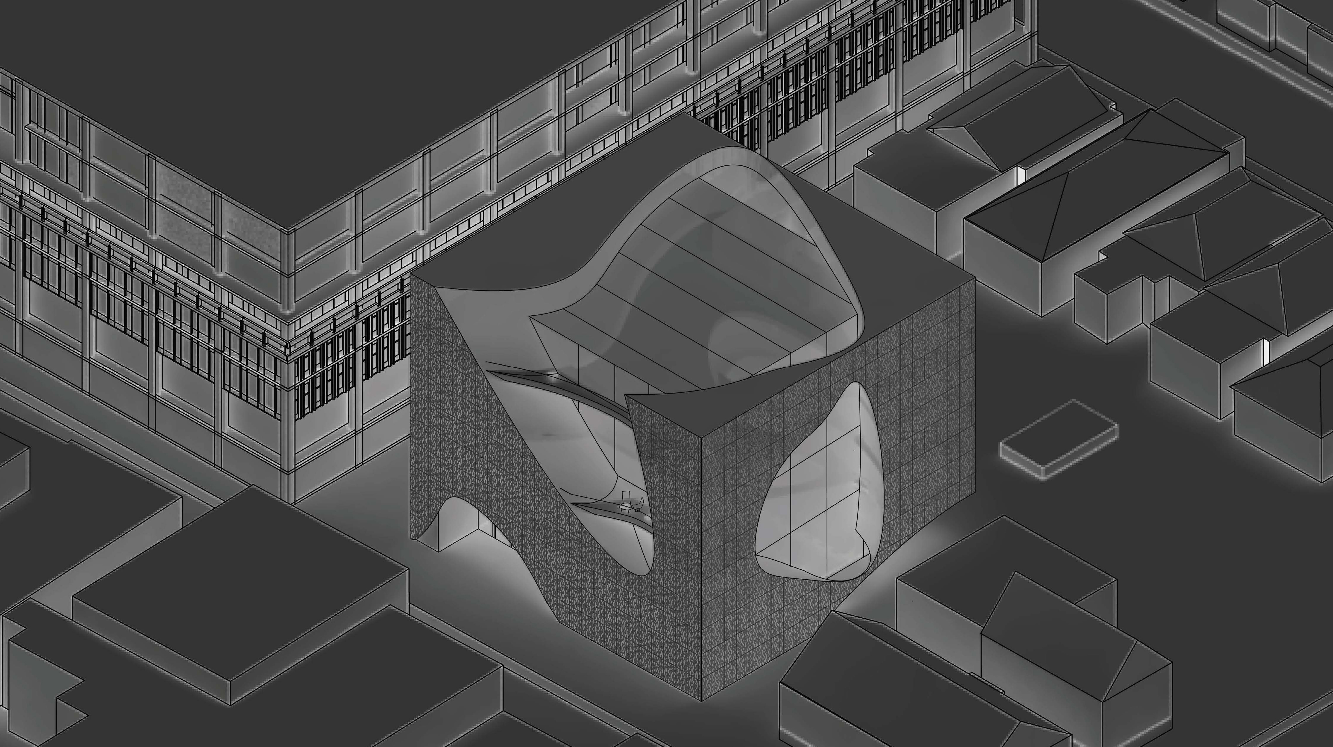 architectural rendering of square building with round cutouts