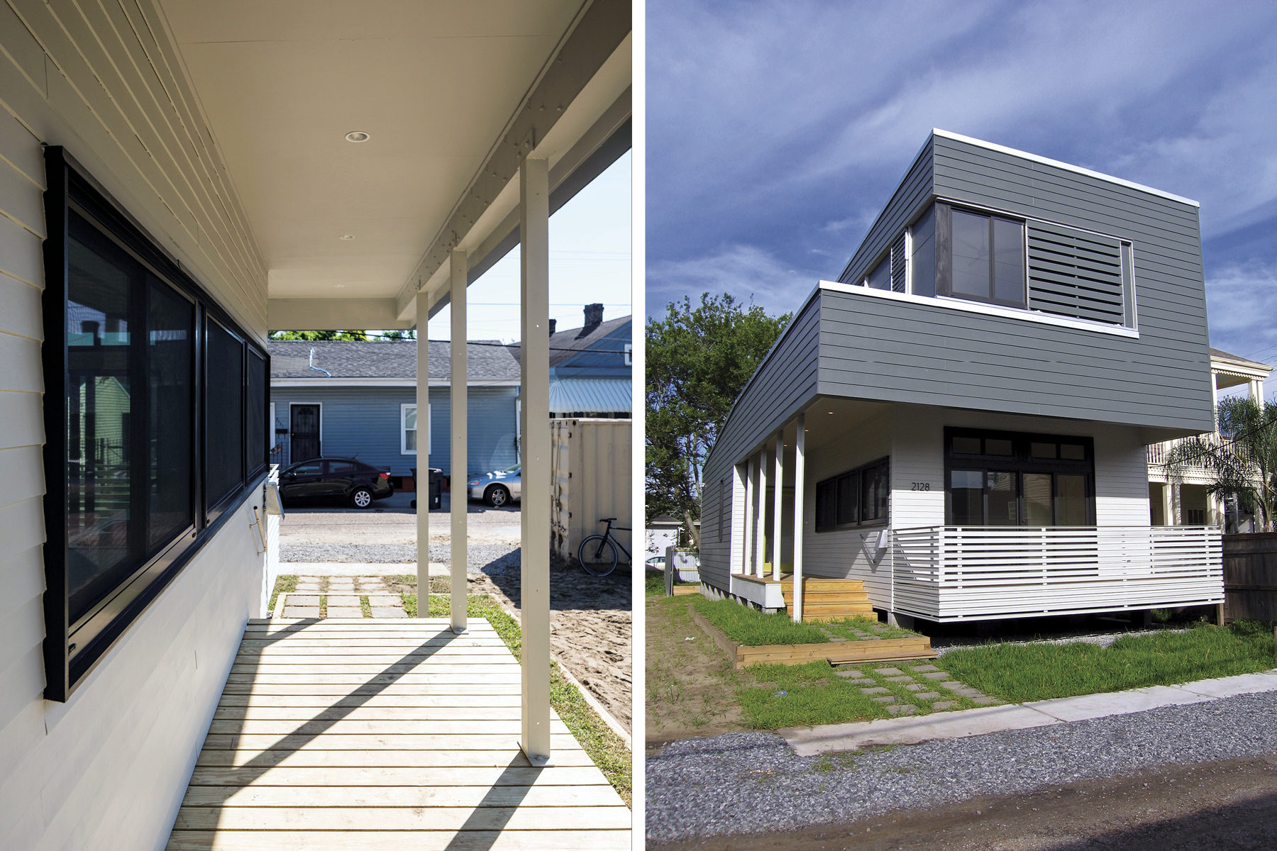 Split view of a modern two-story home with first photo as a perspective looking out from a long side porch to the front yard, and the other photo a front view of the home