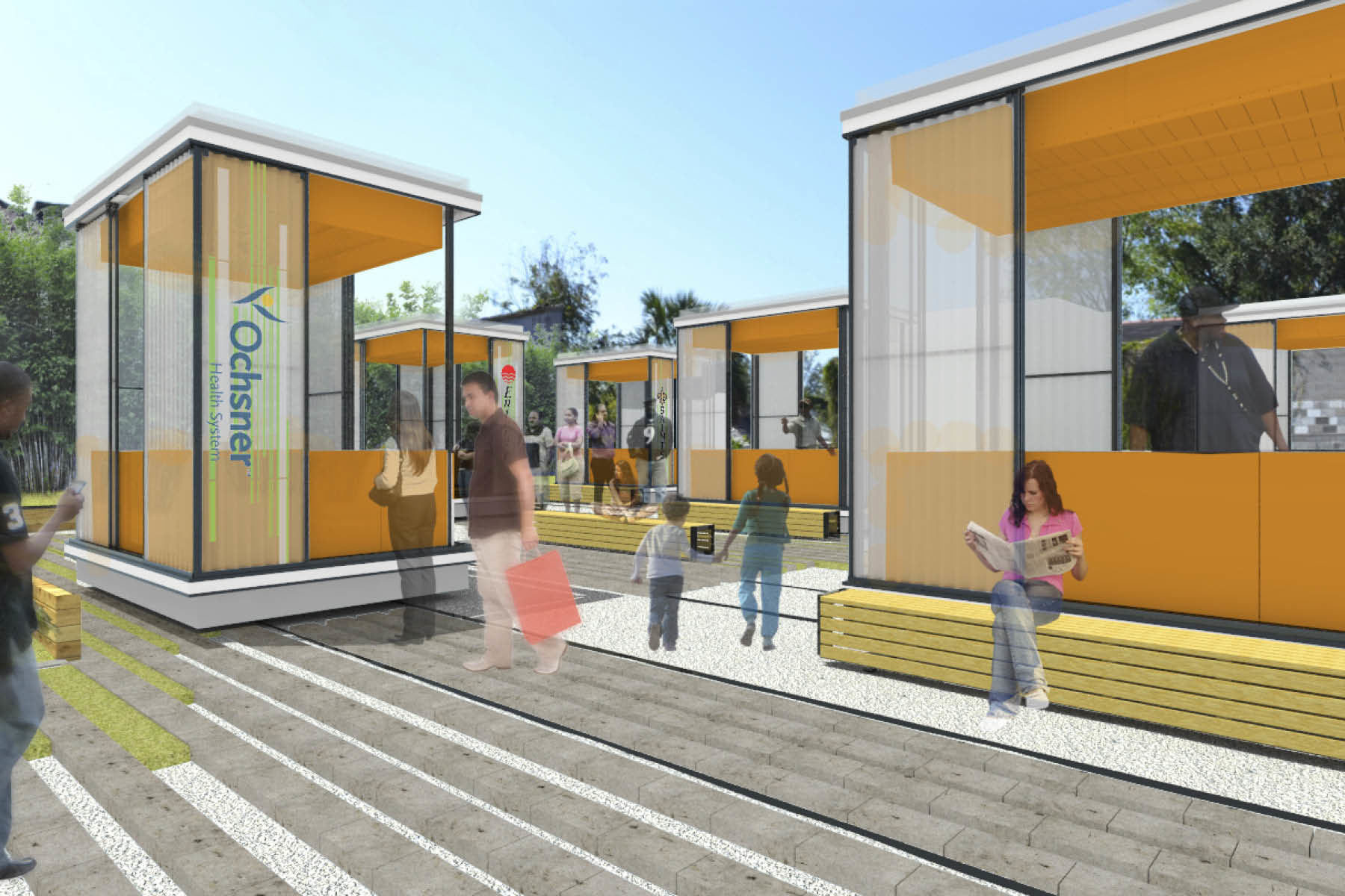 Digital perspective rendering of several small modern style vendor stalls in an open-air market