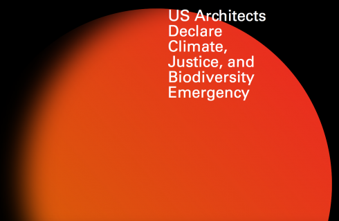 Logo for U.S. Architects Declare Climate, Justice, and Biodiversity Emergency