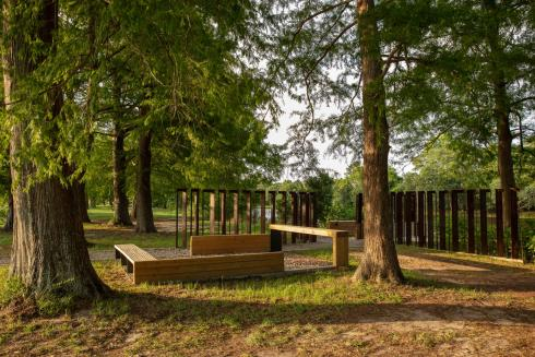 Photo of an outdoor setting with tall trees and a seating area in the background