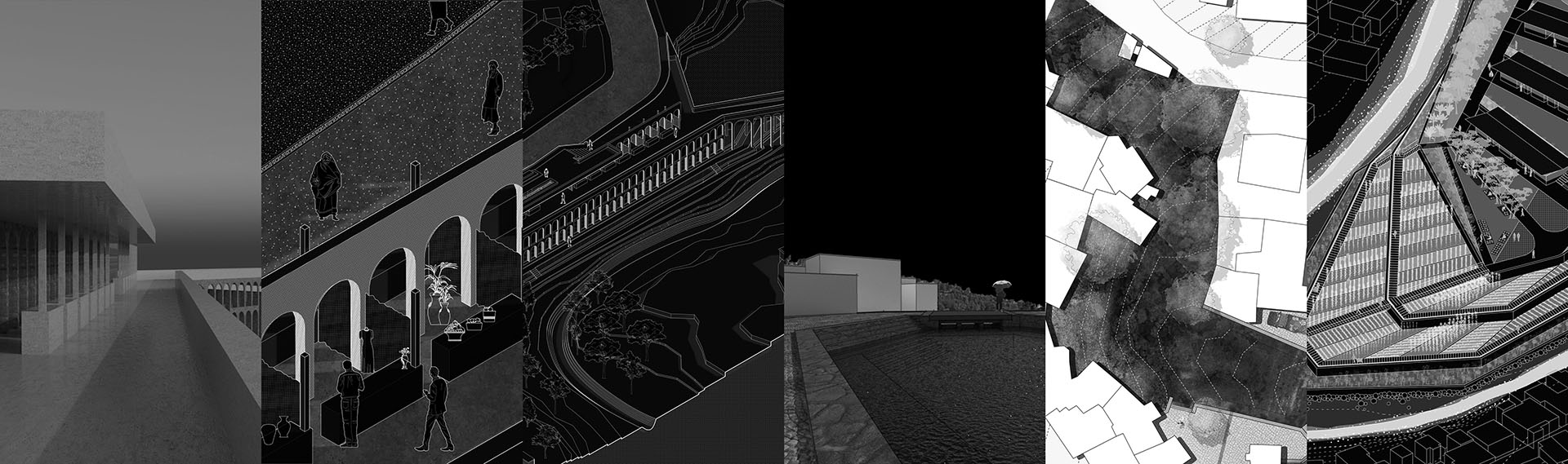 Black and white image collage, including renderings, plan drawings, and perspectives of modern architecture