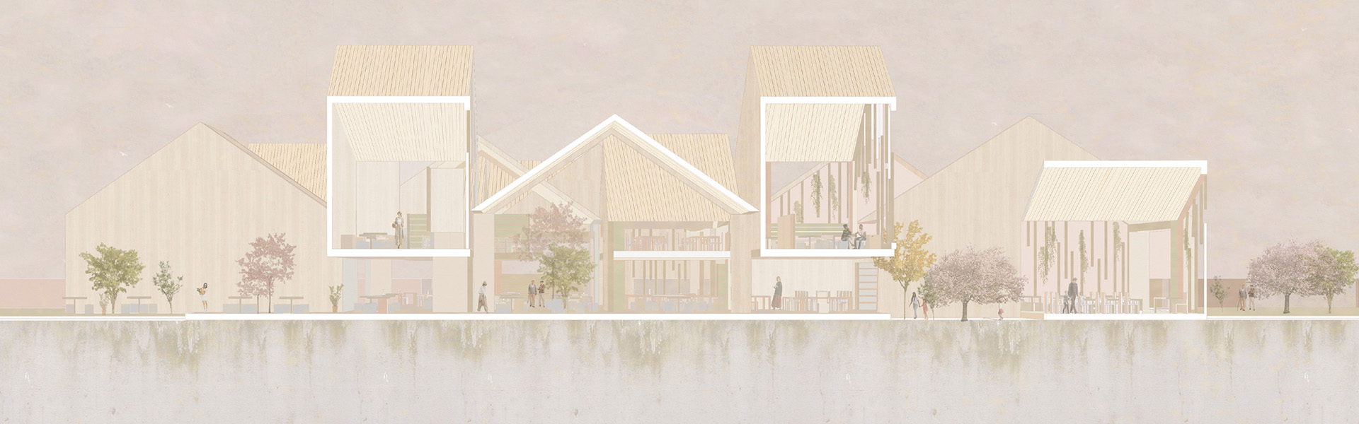 elevation drawing of a large, split level building with triangular shaped rooftops