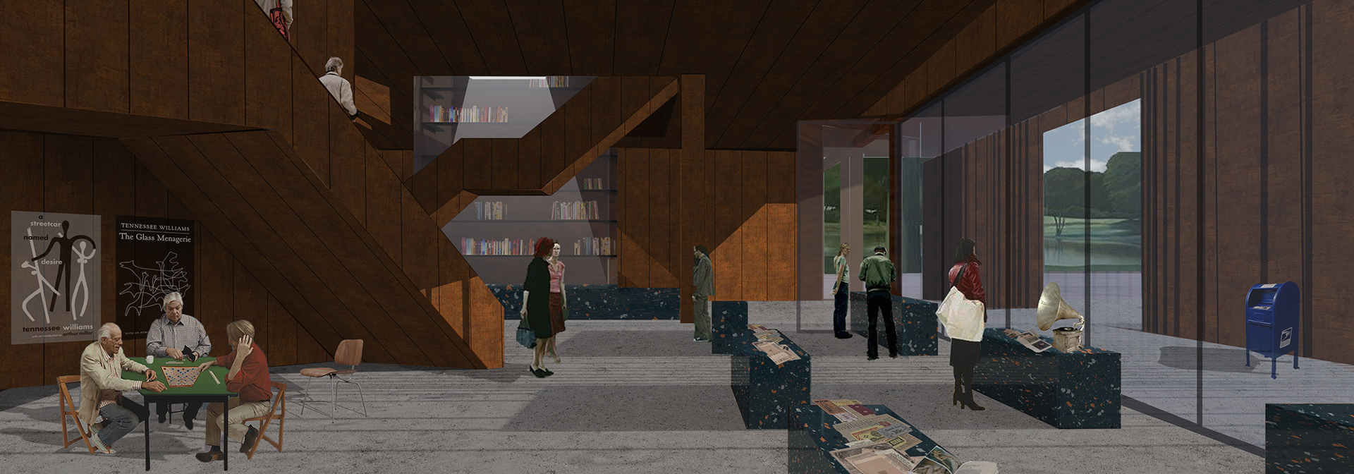 Interior perspective of a large modern, open room with high ceilings and multi-level staircases in the background